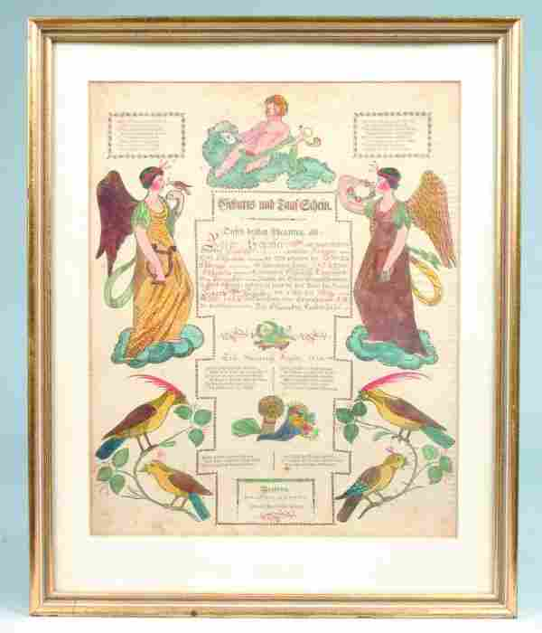 1820's Printed and Hand Illuminated Taufschien, fo