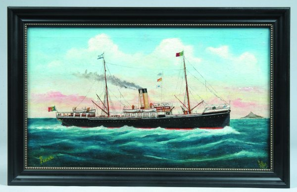 """822: Oil on Canvas Depicting Steamboat Named """"Funchal"""""""