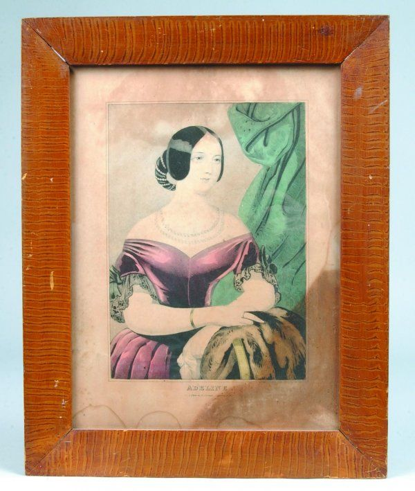 """828: N. Currier Lithograph Titled """"Adeline"""" in Grain Pa"""