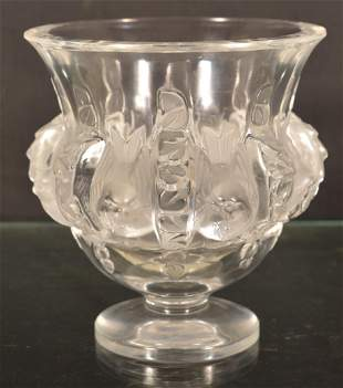 """Lalique """"Dampiere"""" Frosted Glass Footed Vase."""