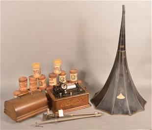 Antique Edison Oak Case Standard Cylinder Phonograph.