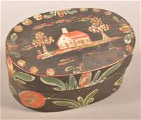 Bucher Polychrome Decorated Oval Bentwood Box.