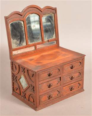 Antique Tramp Art Miniature Bureau.