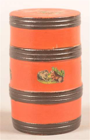 Lehnware Turned & Painted Barrel-Form Thread Holder.