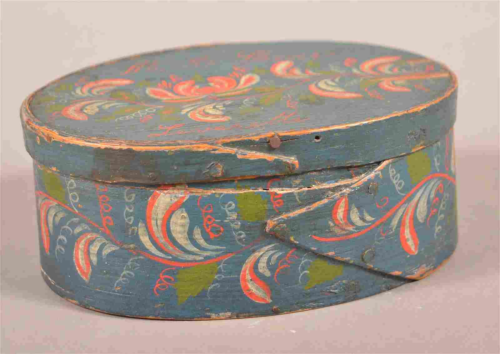 19th Century Painted Oval Bentwood Band Box.