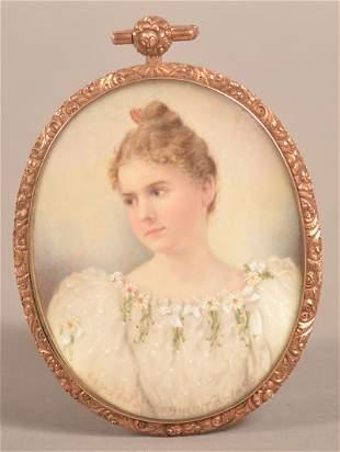 Gerald S. Heyward 1895 Miniature Portrait Painting.
