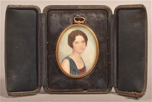 Miniature Portrait Painting of a Young Lady, Circa