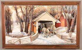Abner Zook Mixed Media Diorama Covered Bridge Scene.