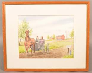 Jay McVay Pen and Ink Watercolor Amish Farm Scene.