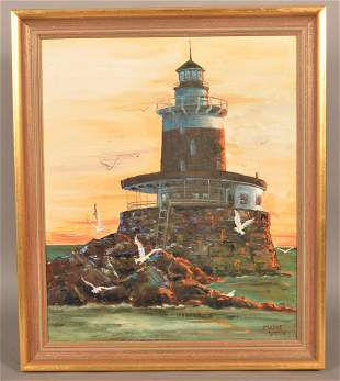 Madge Smith Oil on Canvas Lighthouse Painting.