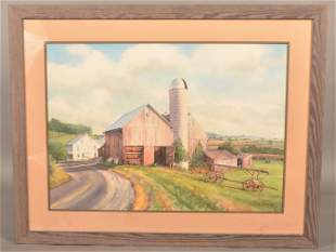 Myrtle Tremblay Watercolor Farmstead Painting.