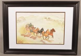 "Ed Geisler ""Westward Ho"" Watercolor Painting."