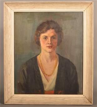 Vintage American Oil On Canvas Portrait Painting.