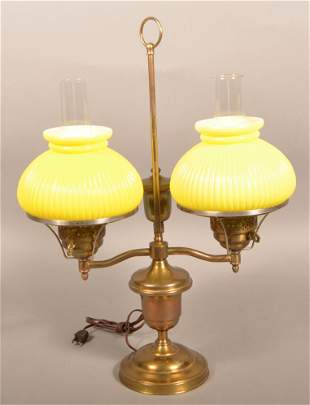 Modern Period Style Brass Double-Arm Student Lamp.