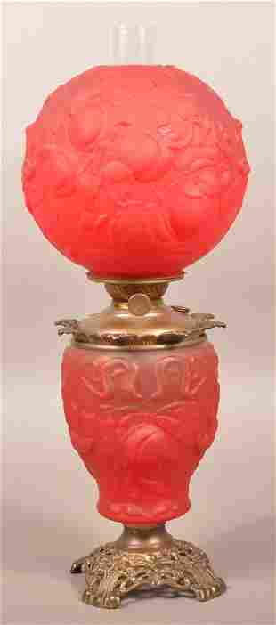 Art Nouveau Ruby Glass Gone with the Wind Lamp.