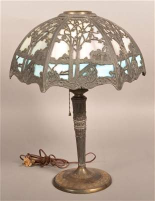Miller Light Co. Blue and Purple Slag Glass Table Lamp.