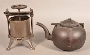 Antique Cast Iron Water Kettle and Cider Press.