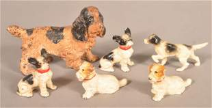 Lot of Vintage Hubley Painted Cast Iron Dogs.