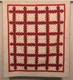 Antique Geometric Pattern Patchwork Quilt.