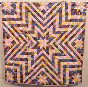 Antique Starburst Pattern Patchwork Youth Quilt.
