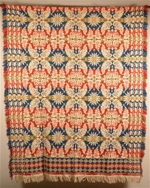 Jacob Netzly 1839, Two Part Overshot Coverlet.