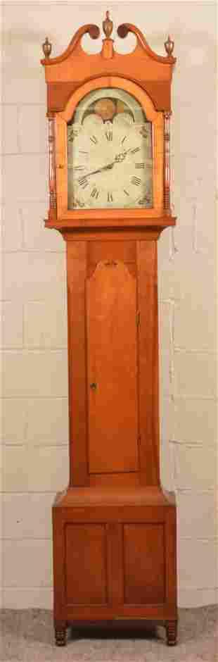 Pennsylvania Sheraton Cherry Tall Case Clock.