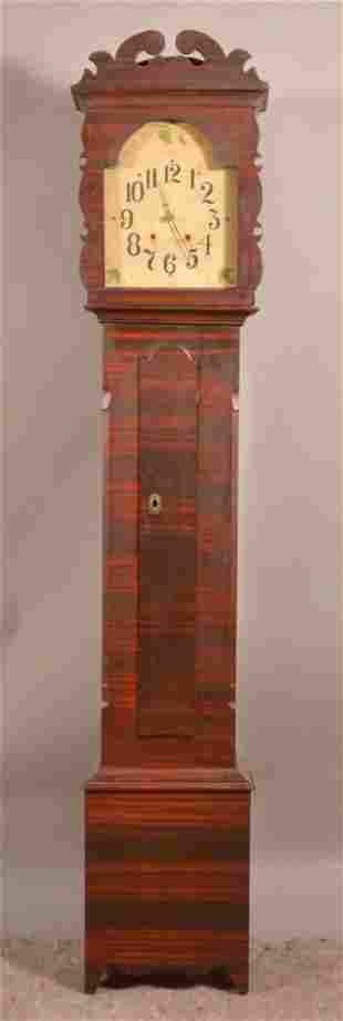 Federal Grain Painted Softwood Tall Case Clock.