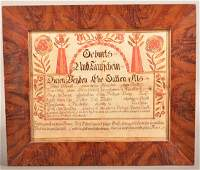18th Century Philadelphia County, PA Fraktur.