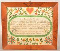 Northampton County, PA 1806 Birth & Baptismal Fraktur.