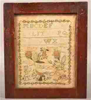 Lancaster County, PA 1801 Needlework Sampler.