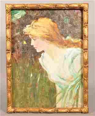 F.S. Church Oil on Canvas Painting of a Young Woman.
