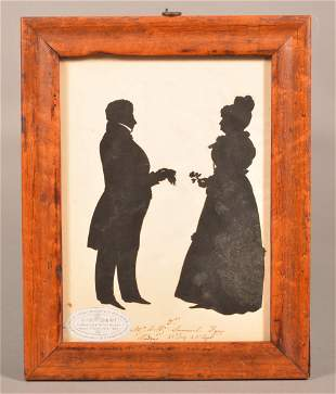 August Edouart Framed Silhouette of Man and Lady.