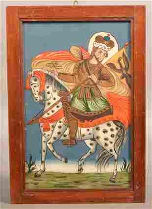 Reverse Painting on Glass Persian Royalty on Horseback.