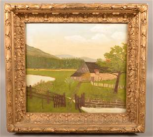 Horace Pippin Stone Farm House Oil on Canvas Painting.