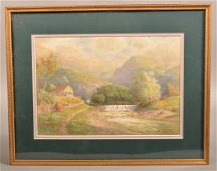 J.A. Beck 1912 Watercolor on Paper Landscape Painting.
