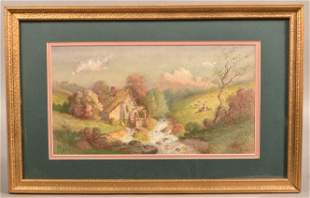 J.A. Beck 1898 Watercolor on Paper Landscape Painting.