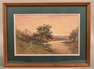 J.A. Beck Watercolor on Paper Landscape Painting.