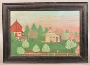 Folk Art Oil on Academy Board Farmstead Painting.
