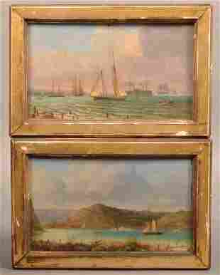 Pair of 19th Century Hudson River/Bay Oil Paintings.
