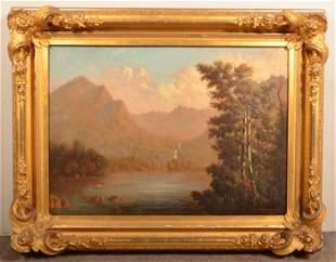 H. Campion 1872 Oil on Canvas Landscape Painting.