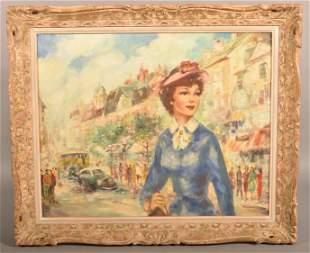 Cherie Mid 20th Century Oil on Canvas of Paris Girl.