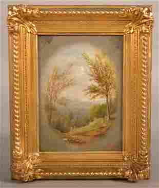 J. H. Raser Oil On Wood Panel Landscape Painting.
