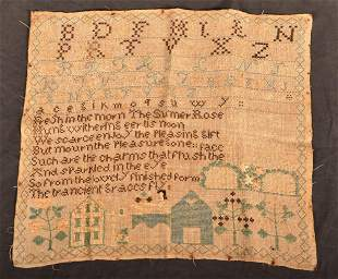 Lucy B. 1830 Alphabet/Poem Pictorial Sampler.