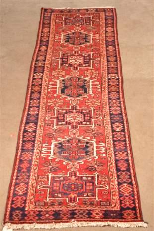 Vintage Gharajeh Oriental Wool Runner.