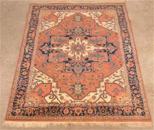 Vintage Center Medallion Oriental Wool Area Rug.