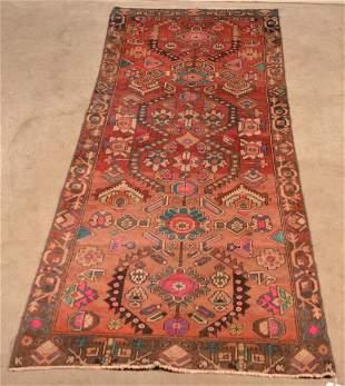 Vintage Floral Pattern Oriental Wool Area Rug.