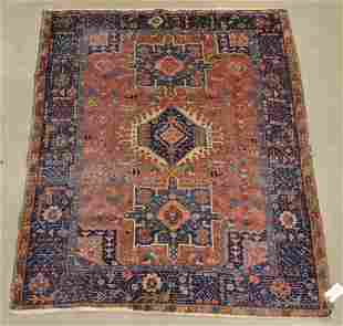Antique/Vintage Oriental Geometric Pattern Area Rug.