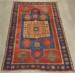 Antique/Vintage Oriental Geometric Pattern Area Rug.