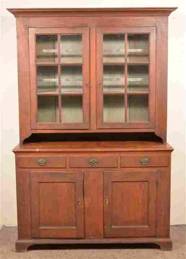 Pennsylvania Federal Walnut Two-Part Dutch Cupboard.