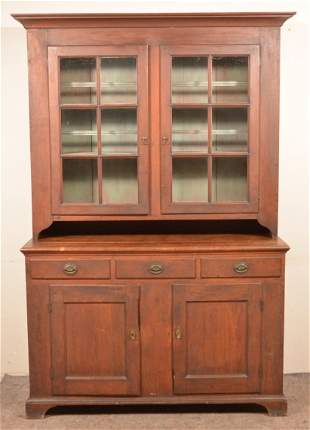 Pennsylvania Federal Walnut Two-Part Dutch Cupboard.